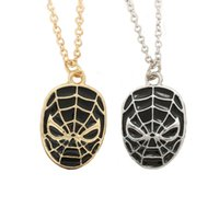 Wholesale Spiderman Kid Mask - Super Heroes Spiderman Jewelry Enamel Spiderman Mask Pendant Necklace Silver Gold Pendants Fashion Jewlery For Women Kids Fans Drop Shipping