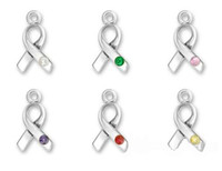 30pcs / lot Breast Cancer Awareness Ribbon Charm Com Crystal Charm Zinc Alloy Antique Silver Plated Jewelry Accessory