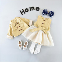 Wholesale Double Breast Girl Dress - Everweekend Girls Tutu Bow Dress Vintage Dress with Double Breast Jackets 2pcs Sets Children Fashion Autumn Winter Clothing