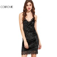 COLROVIE Slip Dress Womens Sexy Dresses Party Night Club Dress Черное кружево Trim Velvet Cami Bodycon Dress