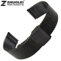 Wholesale pebble steel band online - New Lug Width mm mm mm mm Black Solid Heavy Mesh Stainless Steel Watch Band Fit Pebble Smart Watch Flip Lock Clasp