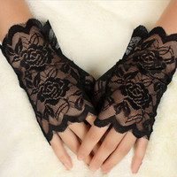 Wholesale Ladies Sexy Costume Pattern - Wholesale- 1 Pair Rose Pattern Black Charm Sexy Lady Girl Lace Party Costume Gloves Finger Fingerless Glove Hot Sale