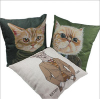 Wholesale Embroidered Linen Cushion Cover - 18*18 inch Fashion Cat Pattern Throw Pillow Cover Sofa Cushion 45*45 CM Hotel Home Car Party Decoration Pillow Case Linen