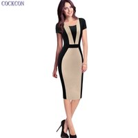 Wholesale Sexy Office Wear Womens - COCKCON New Arrived Womens Elegant Sexy O-neck Short Sleeve Pinup Patchwork Bandage Bodycon Office Dress Knee-length Pencil Dress 112