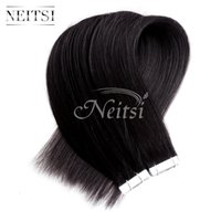 Wholesale Highlighted Remy Hair - Neitsi 18'' 10Pccs lot 18g lot Tape in Brazilian Human Hair Extension Straight Highlight Color PU Skin Weft Hair Weave Hair Weft 8Colors