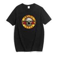 дизайн панк-майка оптовых-Новая Мода Дизайн GunsRose Классический Рок-Панк Ветер Хлопок Футболка Мужчины Женщины Короткие Двенадцать Плюс Размер 3XL Топы Тис Мужская Рубашка Одежда