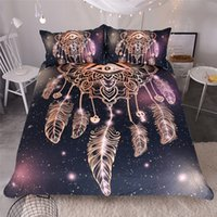 3pcs Hot Sale Dreamcatcher Design Active Printing Alta qualidade Home Textiles Polyester Bedding Set (Tamanho: Twin Queen King)