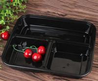 frischhaltedosen mikrowellenfest großhandel-Einweg-Mikrowelle Food Storage Safe 3 Abteilungen Mahlzeit Prep Containers W / Lip Lunchbox Kinder Essen Container Geschirr