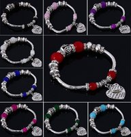 Wholesale Unique Green Bracelet - Wholesale Retro Silver Plated Charms Bracelets DIY Unique Style With Beaded bracelet for women love gift fashion charms jewelry