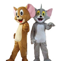 fazer trajes de cabeça de mascote venda por atacado-Tom e Jerry mascote gato mascote do rato do traje da mascote tamanho adulto frete grátis