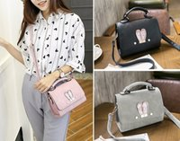 fille de lapin mignon achat en gros de-Kawaii Cute Rabbit Ear Pattern Femmes Shoulder Crossbody Bag Korean Girls Sac à main PU Leather Hasp Petit sac fourre-tout