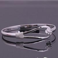 freundin geburtstag armband silber großhandel-Heiße Art- und Weisefrauen Dame Rose Silver Plated Bracelet Charm Bangle Cuff Jewelry für mon Freundin Geburtstagsgeschenk