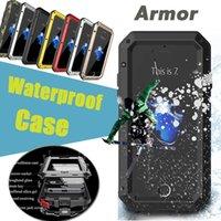Wholesale Iphone Hard Waterproof Case - Waterproof Metal Case Rain-Waterproof Dirtproof Armor Defender Shockproof With Tempered Glass Hard Aluminum Cover For iPhone 8 7 Plus 6 6S
