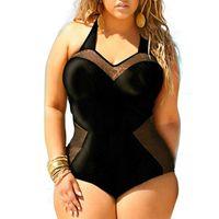 monokini mayo xxl toptan satış-Seksi Tek Parça Mayo Kadınlar 2016 Yeni Yaz Beachwear Mesh Artı Boyutu Mayo Mayo Yüksek Waisted Monokini Bodysuit