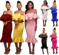 Wholesale Tube Knee Length - 2017 summer women dress off shoulder ruffles half sleeve dresses tube bodycon slim fishtail dress package hip party vestidos