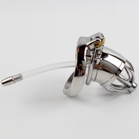 Wholesale locked chastity device - Stainless Steel Male Chastity Device With Silicone Urethral Sounds Catheter Spike Ring BDSM Sex Toys For Men Sex Slave Penis Lock Cage CP277