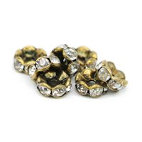 Cristal Strass Spacer 12mm Pas Cher-100Pcs Wavy Edge Round Spacer Beads, Crystal Clear Rhinestone Bronze plaqué Cuivre Perles 6mm 8mm 10mm 12mm, IA02-03