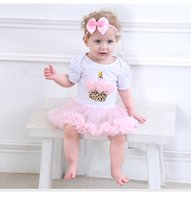 Wholesale Ice Cream Baby Set - Baby Tutu Dress Baby Girl Ice Cream Romper+Headwear 2 pcs Newborn Clothing Set 4 s l
