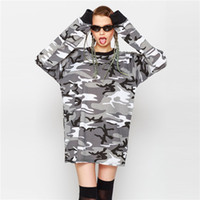 Wholesale Military Shirts Women - 2017 Military Camouflage Print T-Shirt Crew Neck Long Sleeve Loose Women Shirt Leisure Camisetas Mujer Casual Long Tees