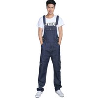 Wholesale Bib Overalls For Boys - Wholesale-Men's fashion pocket denim overalls for boys Male casual loose jumpsuits Plus large size jeans Bib high quality