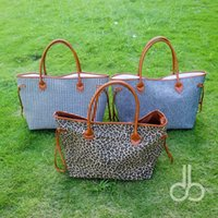 Wholesale Leather Handbag Materials - Wholesale Blanks Canvas PU faux leather Material Leopard Houndstooth Large Tote Bag Cheetah Herringbone Large Capacity Handbag DOM103369