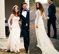 Wholesale Low Back Style Wedding Dresses - Elegant Ivory Country Style Boho Full Lace Wedding Dresses 2017 V Neck Sheer Long Sleeves Sexy Low Back Bridal Gowns Custom Made Vintage