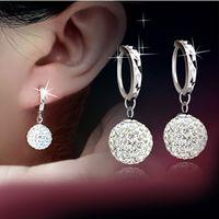 Wholesale Swarovski Disco - Best Quality!10mm 12mm 12 Pairs Swarovski Crystal Shamballa Bead Pave Disco Ball Beads 925 Sterling Silver Earring Studs Fashion Jewelry