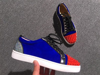 Wholesale Red Man Sign - Luxury Sign Junior Flat Men's Loubs Red Bottom Spikes Party Casual Fahion Sneakers Men,Women Suede Blue Lake Blue Low Cut Suede