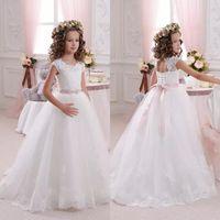 Wholesale Cheap Halloween Bride - 2017 Cheap White Lace Flower Girl's Dresses O-Neck Cap Sleeves Ball Gown Little Bride Dress for Wedding Princess Kid's Dress Communion Dress