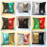 Sequins Capa de travesseiro Mermaid Satin Pillowslip Capa de almofada de cor dupla para Home Sofa Sequins Cobertura Capa de travesseiro decorativo Hot Sale DHL