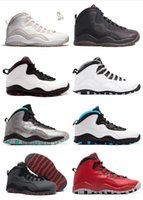 Wholesale Patent Ladies Shoes - air retro 10 men basketball shoes Steel Grey ovo white black 10S trainers Powder Blue Lady Liberty Chicago GS X Fusion Red Bobcats