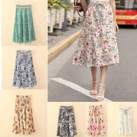 Wholesale Khaki Calf Length Skirt - women fashion skirt women line pleated skirts New Bohemia prints bust dresses wholesale prints half length dresses A line skirts