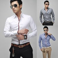 Wholesale Dress Trendy Tops - 2017 Classic Trendy Men's Dress Shirts Solid Tops Slim Long Sleeve Single-breasted Fashion Clothes Men Leisure Shirts M-XXL Hot Selling
