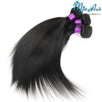 ingrosso capelli umani per il commercio all'ingrosso-Brasiliani capelli lisci 3 bundles all'ingrosso non trasformati capelli umani vergini estensioni dei capelli trame colore naturale per le donne nere