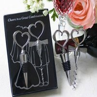 Wholesale Stainless Steel Heart Bottle Stoppers - heart-shaped Combination Red wine corkscrew wine opener and Wine Bottle Stopper Sets Wedding Souvenirs Guests gift 100pcs=50 sets