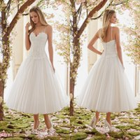 Wholesale Summer Soft Dress - 2017 Romantic Lace Spaghetti Straps Tea Length Wedding Dresses Puffy Soft Tulle Backless White Plus Size Cheap Bridal Gowns Under 100