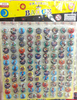 Wholesale Mario Accessories Wholesale - 108Pcs  1sheet Cartoon Super Mario Bros Round Brooch Badge Kids Badges, 25MM,Round Brooch Badge,Kid Clothing accessories