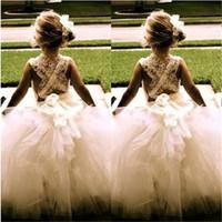 satılık küçük prenses elbiseler toptan satış-Düğün için Küçük Kız Çocuklar için Sıcak Satış Gerçek Çiçek Kız Elbise Prenses Balo komünyon Parti Pageant Elbise / Çocuk Elbise