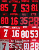 Wholesale Elite Jersey 28 - 100% stitched 7 Colin Kaepernick NaVorro Bowman Jerry Rice joe montana 35 Eric Reid 28 Carlos Hyde stitched elite jersey can mix order