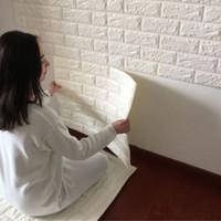 Wholesale Brick Wallpaper 3d - Wholesale- Hot New 3D Bricks Pattern Seft Adhesive Wall Sticker Soft Foam Panels Wallpaper Covering Living Room Background Home Decor Art