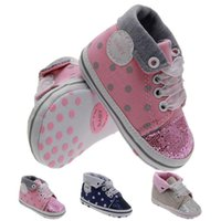 Wholesale Diamond Shoes Flash - Baby Toddler Flash Shoes Indoor Soft Ribbons of colored Polka Dots Toddle Boots FlangBottom baby HighTop The pink diamond shoes 3COLORS 009#