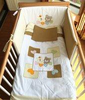 Wholesale Crib Comforter Cover - Crib Bedding set 4PCS baby crib bumper cotton comforter pillow cover orange green embroidered bear heart