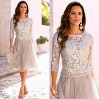 Wholesale Illusion Top Wedding Dresses - Mother of the Bride Formal Short Dresses Illusion Crew Neck Sequins Embellished Top 3 4 Sheer Sleeves Knee Length Wedding Guest Dress