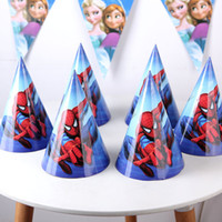 spider headband - Happy Birthday Party Decoration Child spider super man Cartoon Pattern Birthday Paper Hat cap Event Kids Party Supplies