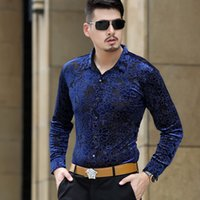 Wholesale Transparent Clothes Through Breast - Wholesale- 2016 Autumn Flower Print Transparent Shirts Men See Through Shirts Club Outfits Trendy Sexy Clothing Fit Camisa Social Masculina