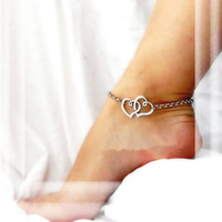 Wholesale Fashion Jewellery Anklets - Women Simple Style Double Heart Anklets Chain Gold Plated Silver Tone Fashion Jewellery Valentine's Day Gift