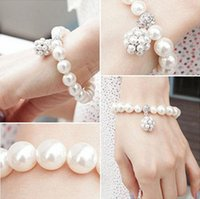 Wholesale Crystal Flower Bangle Cuff - Elegant Crystal Pearl Bridal Wedding Jewelry Pearl Charm Bracelets Girls Women Crystal Pearl Bracelet Cuff Bangle Wristband Woman's Gift