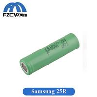 mods için lityum piller toptan satış-Otantik 100% Orijinal INR18650 25R M Pil 2500 mAh 20A Deşarj Düz Üst Vape Lityum 18650 Pil Samsung Box Mods için