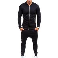 Wholesale Tights Men Thin - Wholesale-2016 Men Casual Wear Set Fashion Trousers Sweatshirts Plus Size XXXL ropa de deporte suit black Fitness tight mens tracksuits