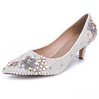 zapatos de baile de boda de marfil al por mayor-Kitten Heel Boda Zapatos de boda de perlas de imitación Zapatos de boda de marfil Cómodos Zapatos de baile de fiesta de baile